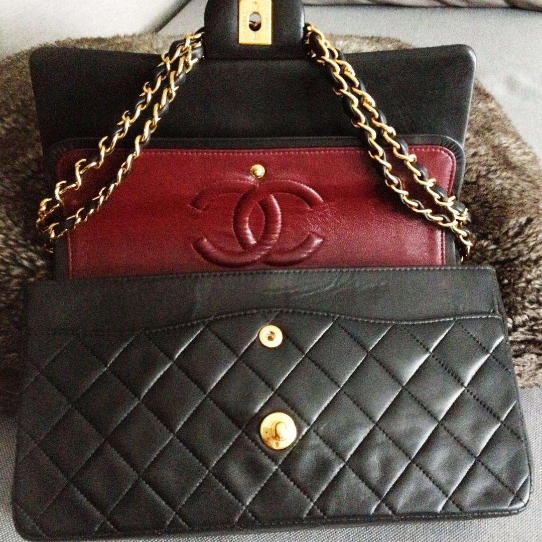 FULL SET CHANEL Black Quilted CC 24K Gold Chain Medium Double Flap Shoulder Bag
