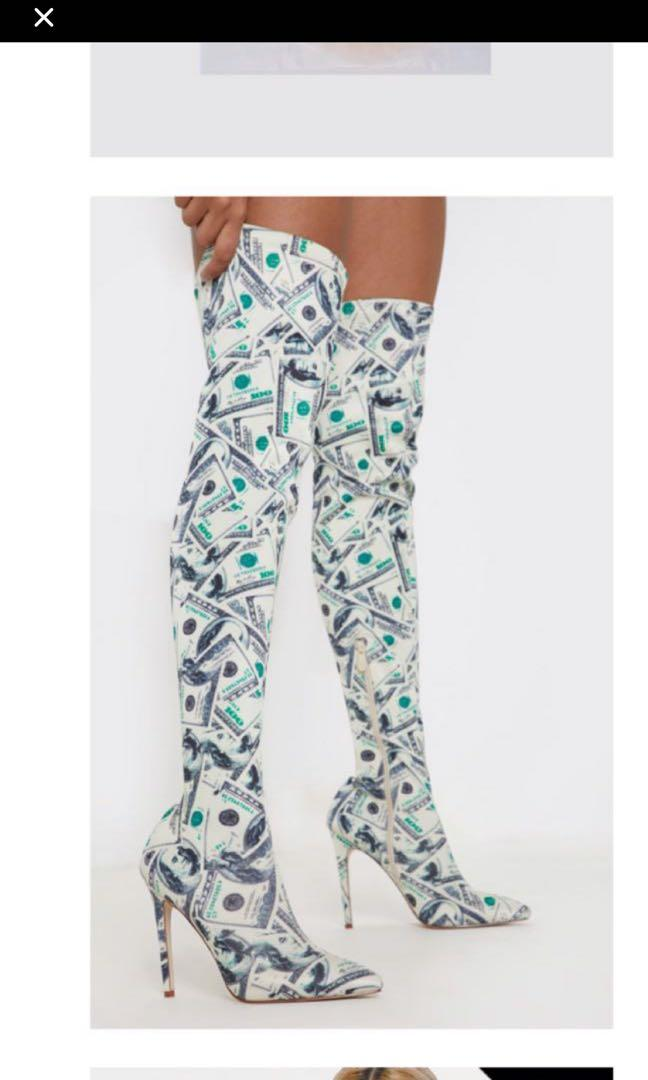GREEN AND WHITE CASH HIGH KNEE BOOTS PRETTYLITTLETHING