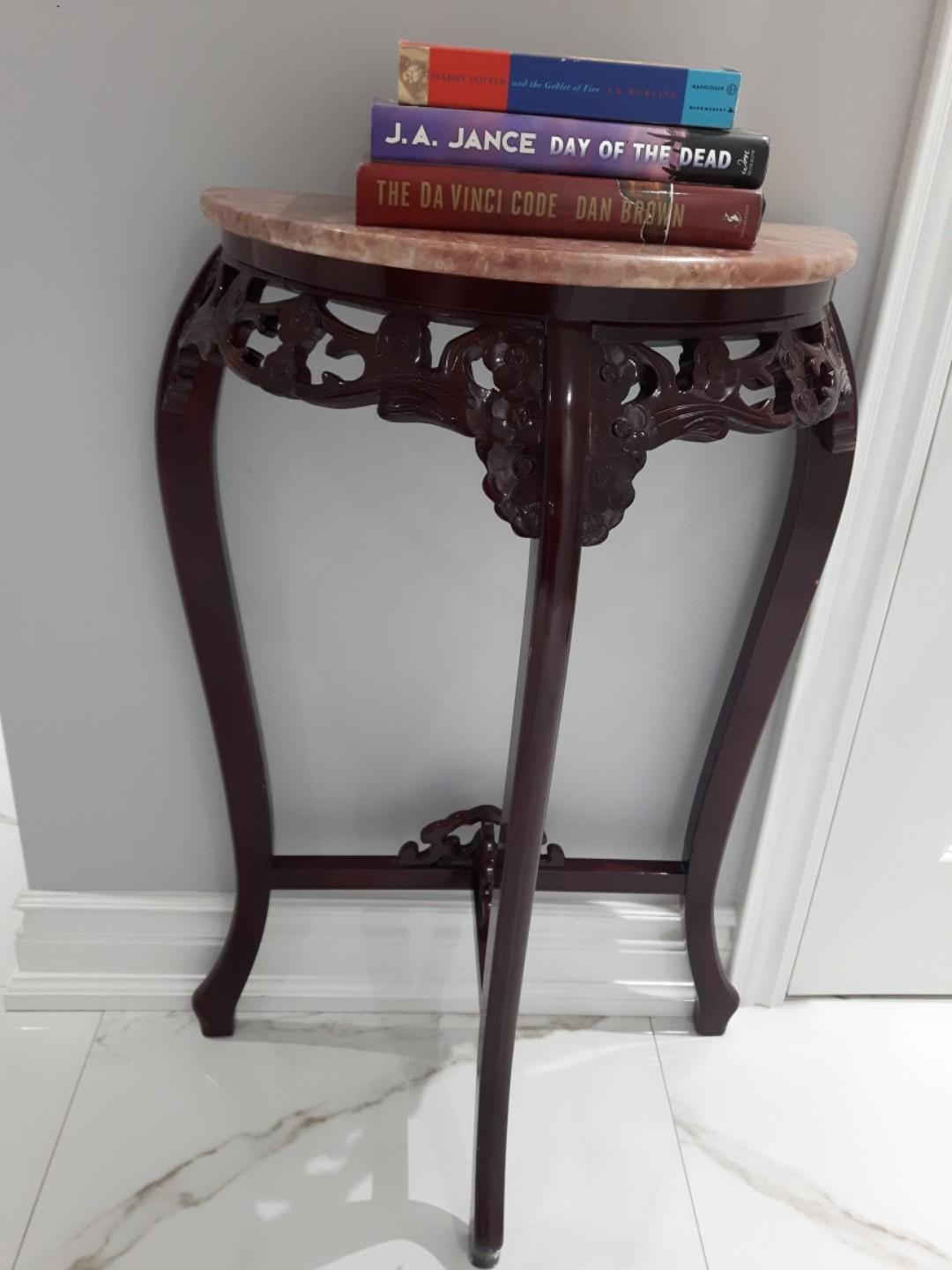 Half Moon Marble Wood Foyer Table 3 legged carved design $185