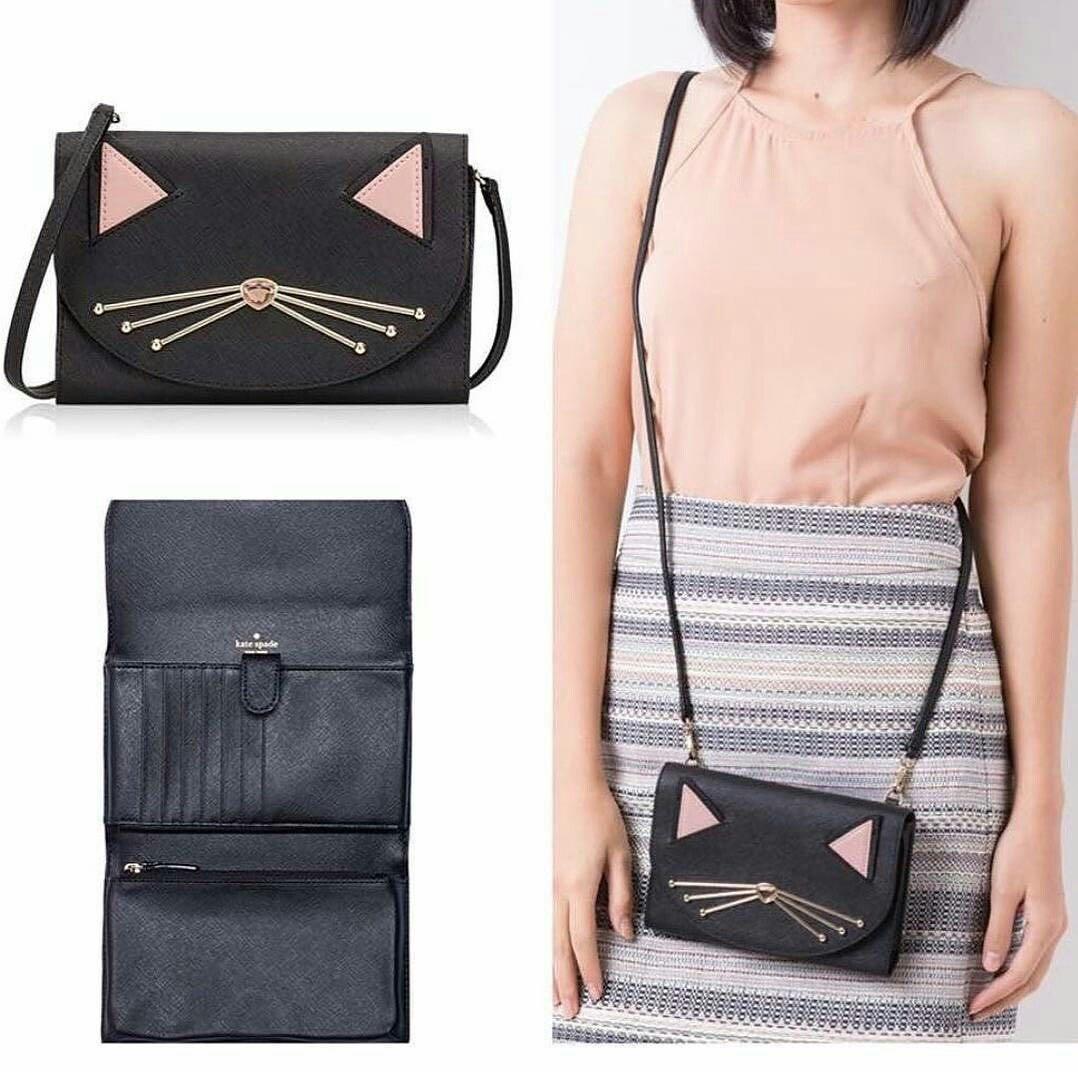 KATE SPADE Black Leather Winni Jazz Cat Card Pouch Clutch Wallet Bag - Like New