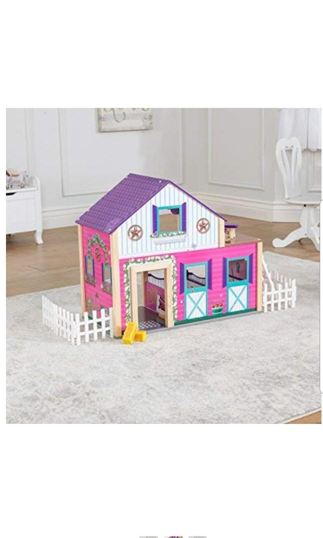 "KidKraft Deluxe Horse Pony Barn Animal Farm Dollhouse Doll House Stable Play Set, Multicolor, 24"" x 11.8"" x 20.6"""