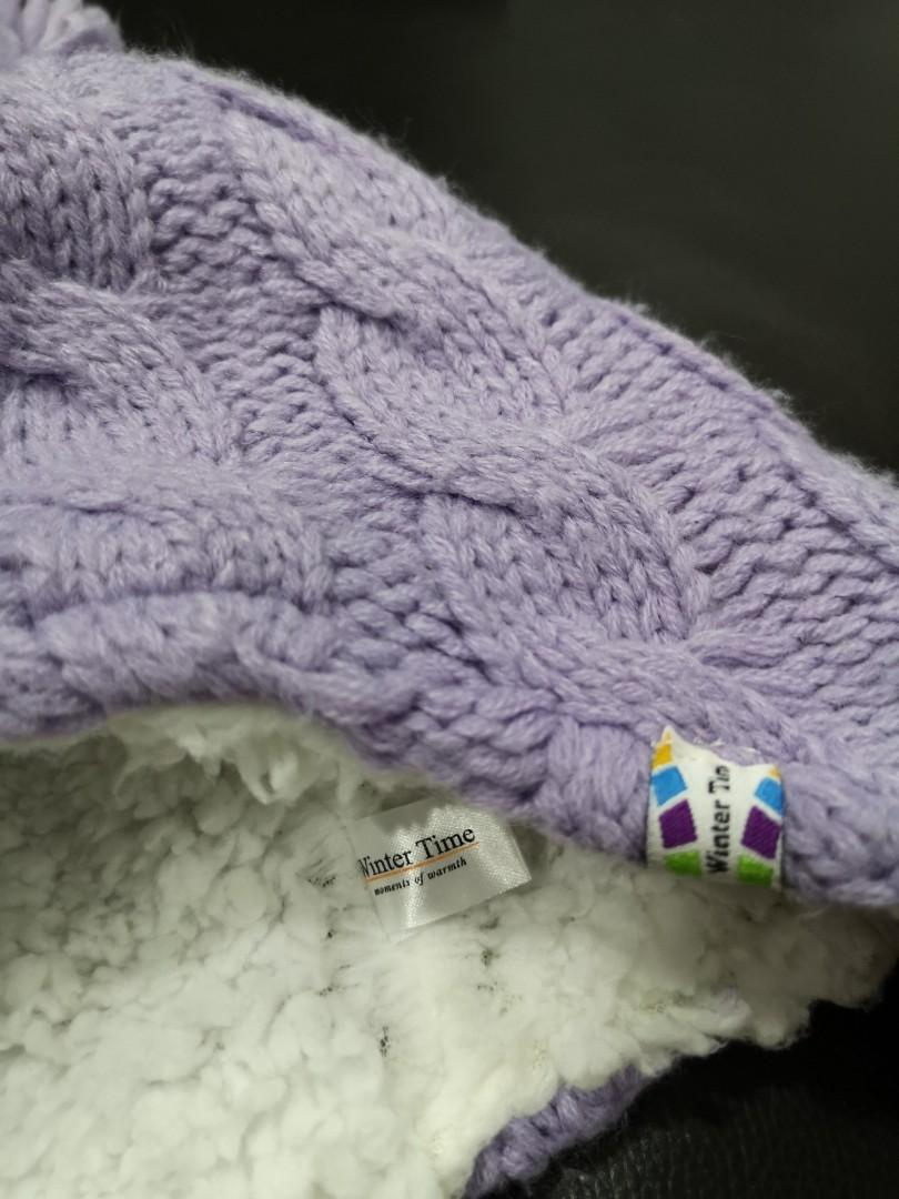 Knitted Purple/lilac bobble hat with ear flap