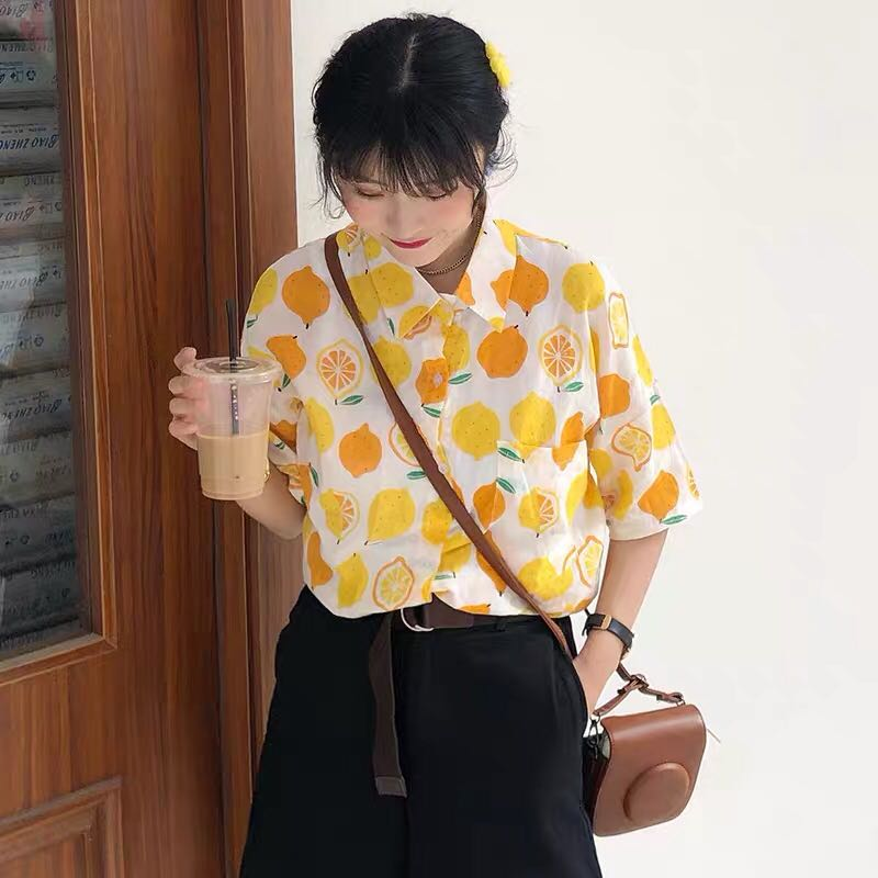 Korean Ulzzang Tropical Orange Pattern Shirt