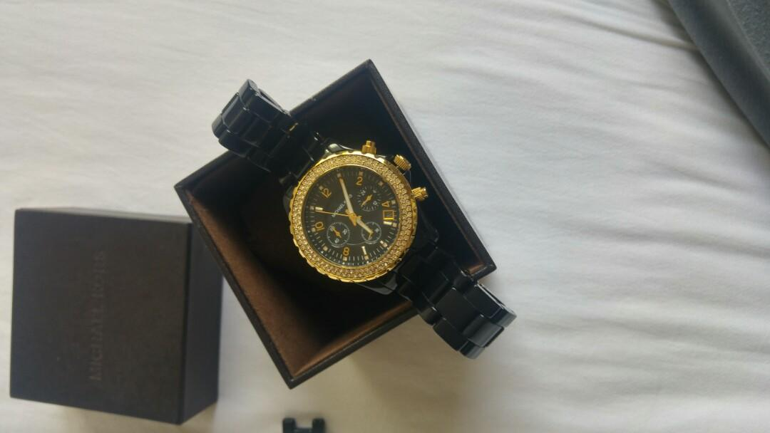 Michael kors gold ceramic chronograph watch