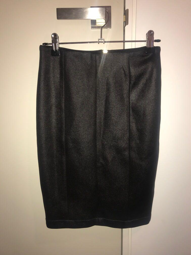 Mossman 'up all night' black zip up mini skirt size 6