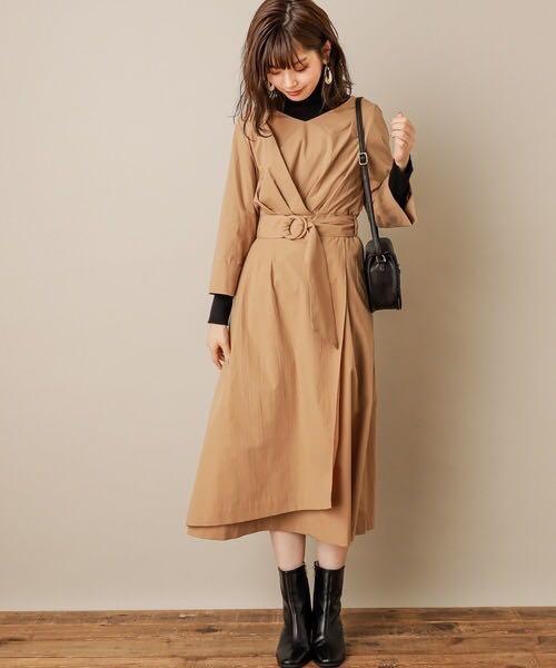 靚OL裙🌸日系恤衫連身裙 Japan pleated detail buttons one-piece op dress