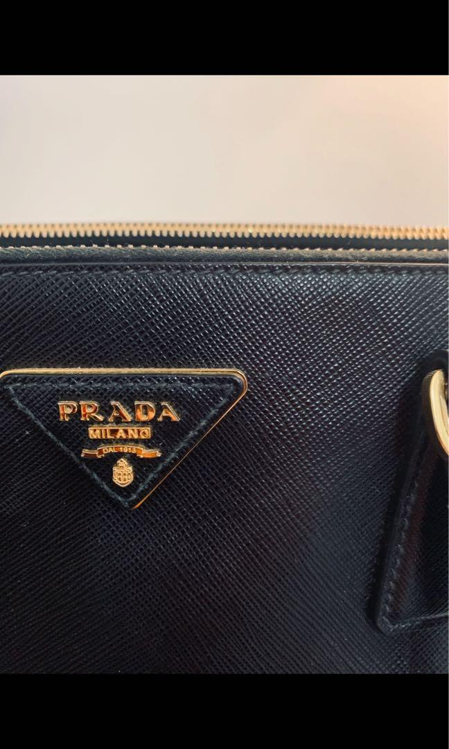 Prada Saffiano Lux Leather Double Zip Medium Tote Bag BN2274