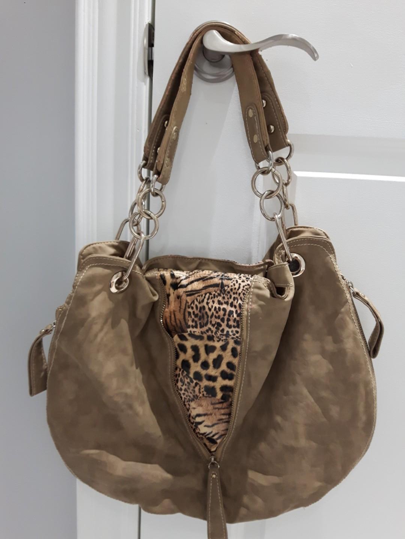 Multi way Purse/Bag Leopard and beige pattern adjustable hobo style