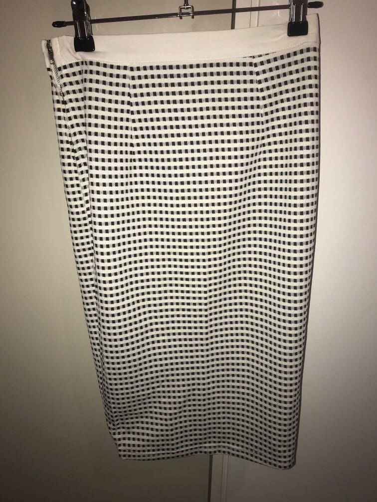 Saints + Secrets black and white check side split midi skirt
