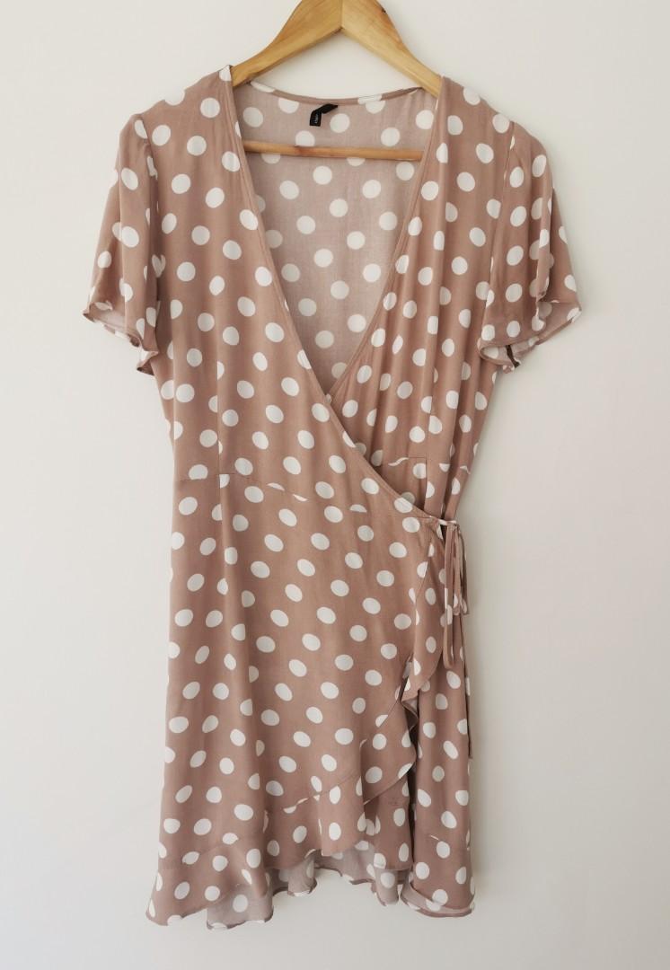 Staple the Label Mandy Wrap Dress in Beige Spot - Size M RRP $130