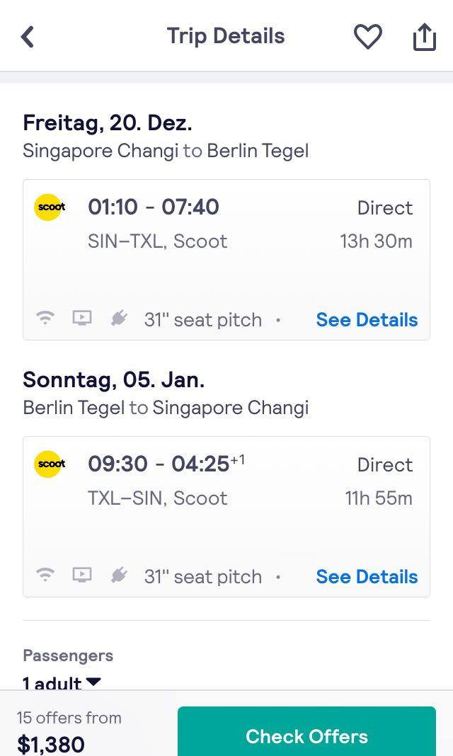 Two flight Tickets SG to Berlin, Germany on christmas