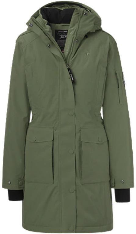 Winter Jacket: Woods Women's Alsek Arctic Down Parka - Duck Green Size L