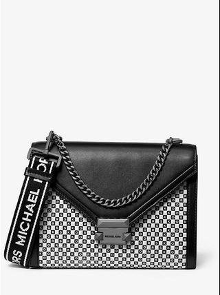 Michael Kors專櫃款Whitney大款黑/白色白棋盤格MK Logo皮革手提/肩背/斜背晚宴多功能包