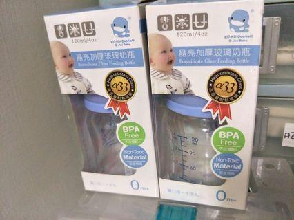 極新 奶瓶  KUKU 酷咕鴨 晶亮加厚寬口玻璃奶瓶120ml