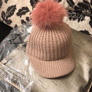 全新~粉色狐貍毛球針織帽
