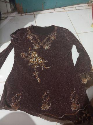 baju wanita coklat tangan panjang