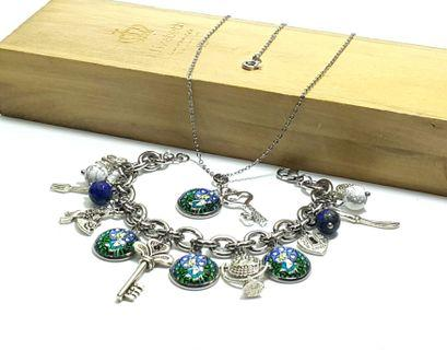 1 Set of Themed Charm Bracelet & Necklace - Alice in Wonderland B349