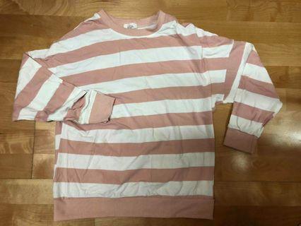 粉白條紋T