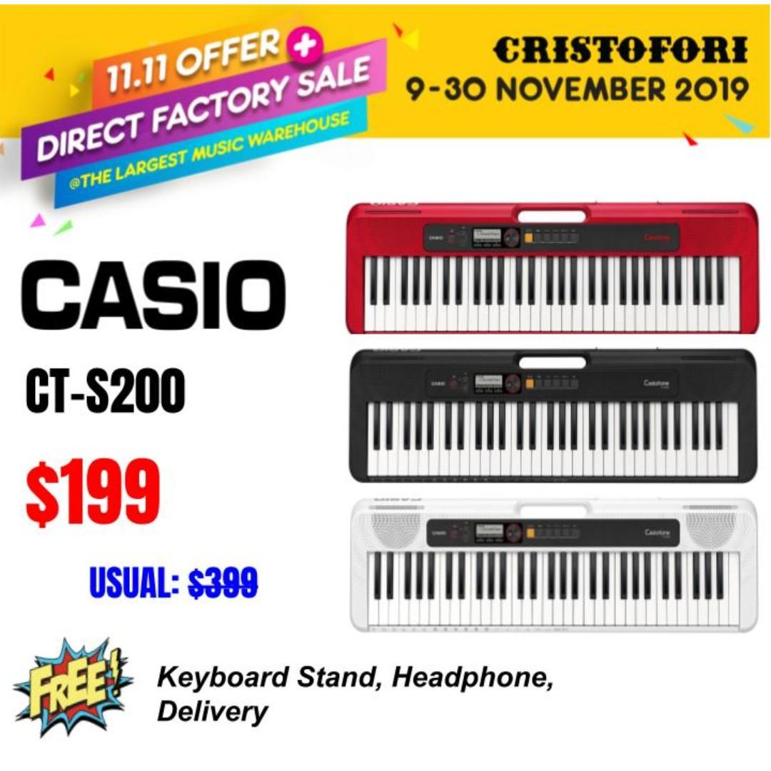 11.11 CRISTOFORI LARGEST MUSIC WAREHOUSE SALES !!! (NEW MODEL!) CASIOTONE 61-keys $199 Portable Keyboard (Black, Red and White)