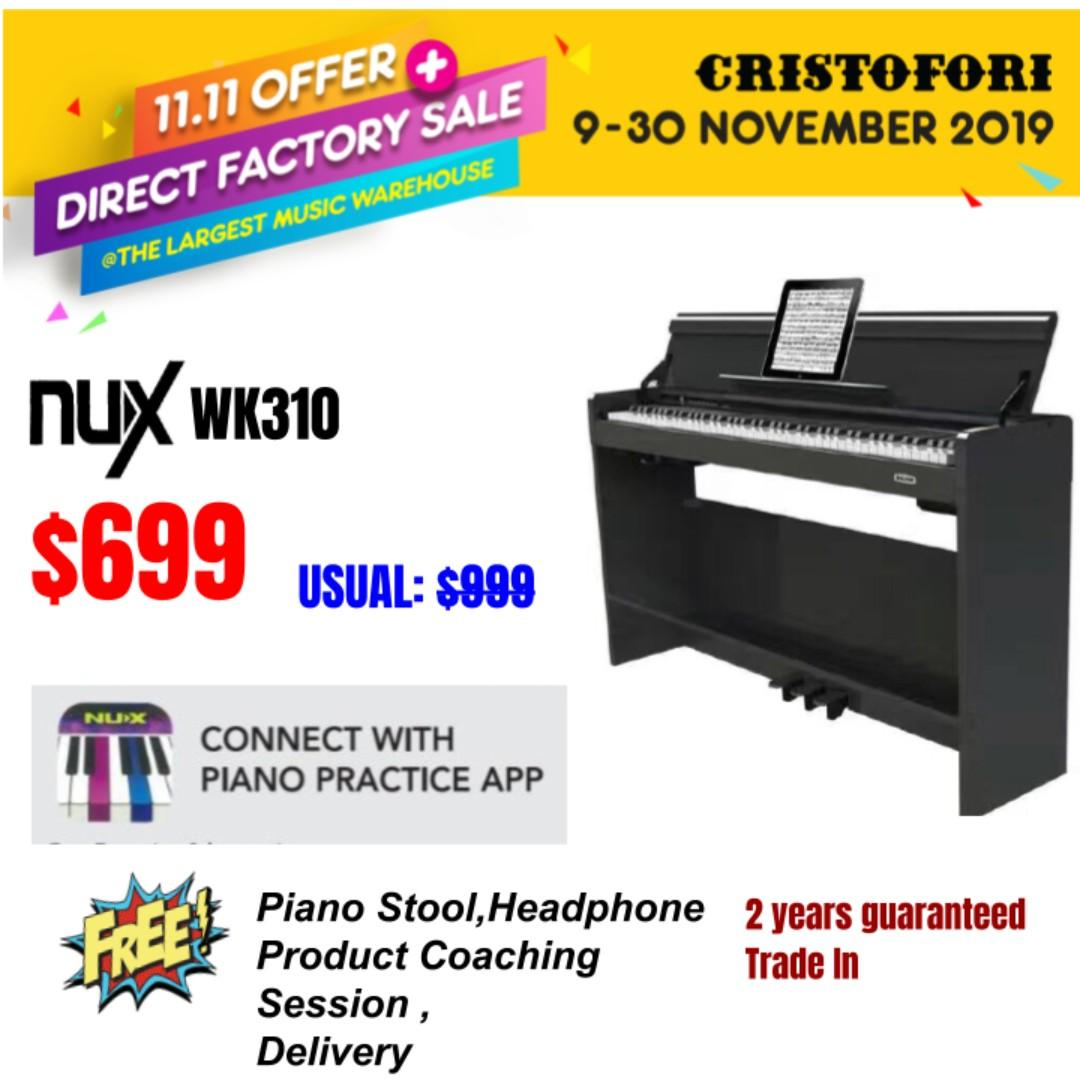 11.11 CRISTOFORI LARGEST MUSIC WAREHOUSE SALES !!! NUX WK310 $699 Intelligent Digital Piano - 88 weighted keys scaled hammer action keyboard, Piano Practice App with Bluetooth-enabled, MIDI support (WK-310)