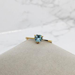 20K YG Blue Topaz Ring