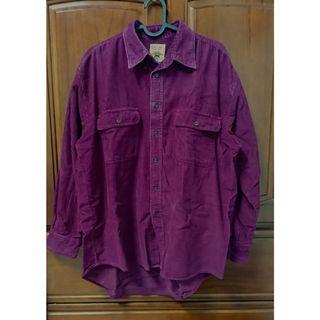 古著紫紅燈芯絨襯衫