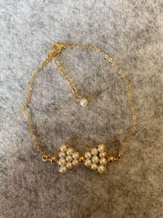 珍珠蝴蝶結造型手鍊