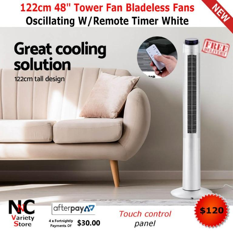 122cm 48″ Tower Fan Bladeless Fans Oscillating W/Remote Timer White