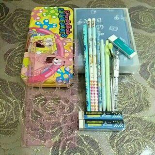 鉛筆盒*1(二手)/尺*1(二手)/鉛筆*4(全新)/自動鉛筆*2(二手*1全新*1)/筆芯(全新)/橡皮擦*3(全新)