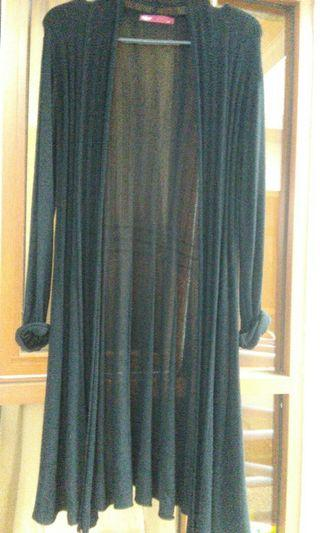 Long  black knitted Cardigan