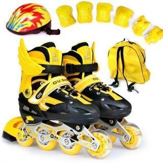 鋁合金兒童直排輪鞋+安全帽護具背帶