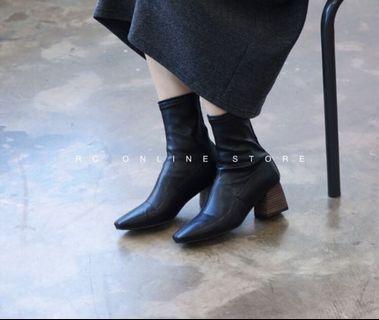 正韓轉賣-特殊木根彈力貼裸靴 24.5