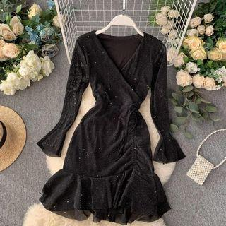 V Neck Glitter Black Dress