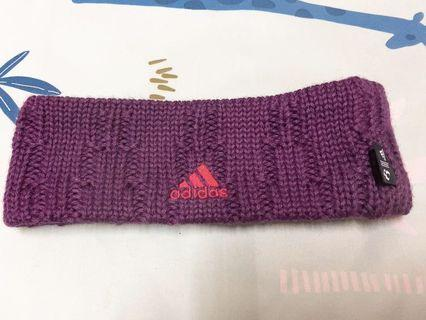 adidas紫色針織保暖運動頭圈