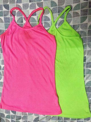 螢光粉紅/螢光綠細肩帶背交叉 長版背心