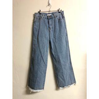 韓版 不修邊牛仔寬褲