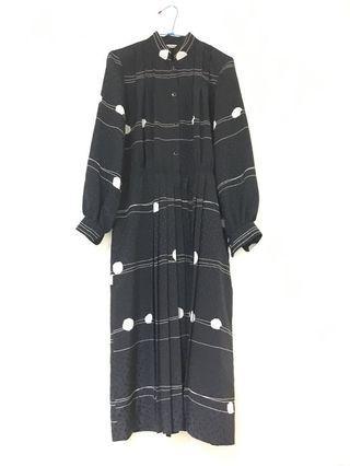 黑色圈圈線條 長袖古著洋裝