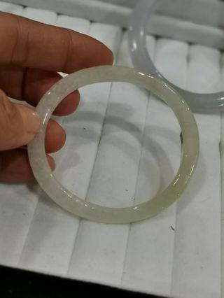 New Jadeite Jade White Yellowish Oval Bangle 55mm (for 53mm)