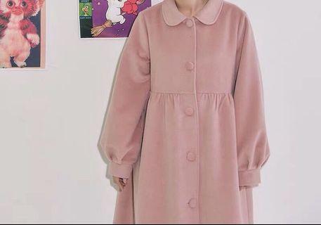 《冬季 新品》日系粉紅領娃娃復古大衣