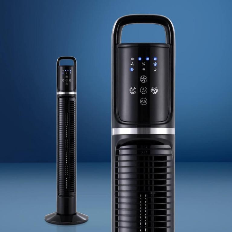 80cm 32″ Tower Fan Bladeless Fans Oscillating W/Remote Timer Black
