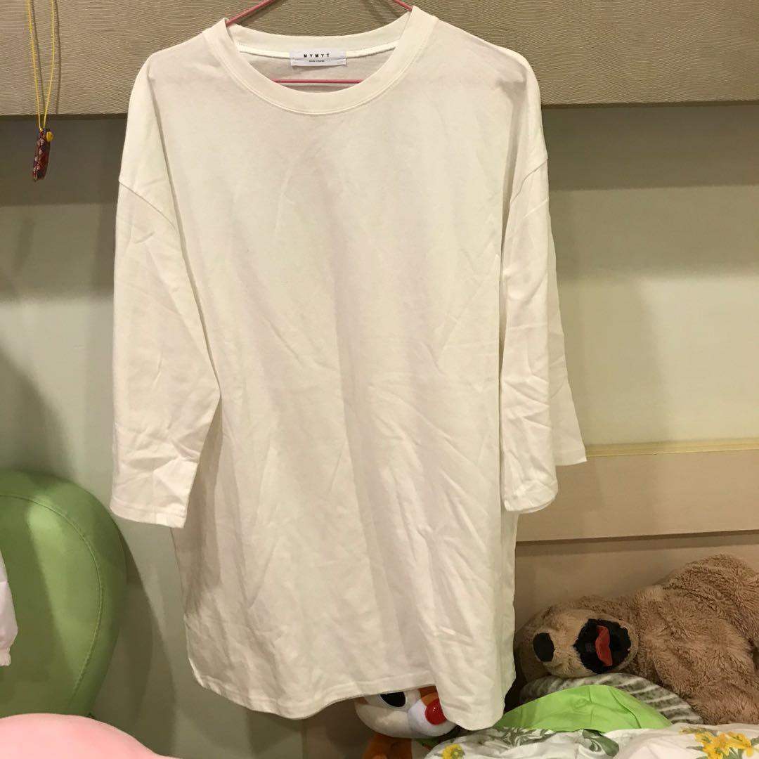 九分袖棉質白色長版上衣(全新)#出清2019