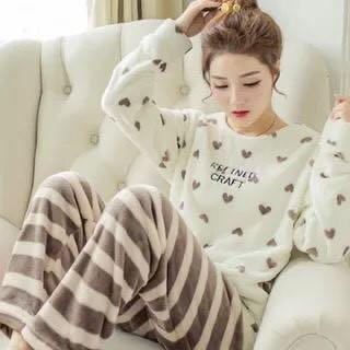 珊瑚絨冬天居家睡衣套裝