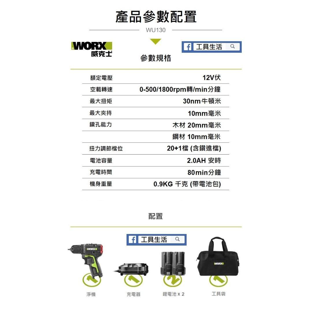 ***香港行貨*** WORX 威克士 - WU130 12V 雙速無刷迷你電鑽