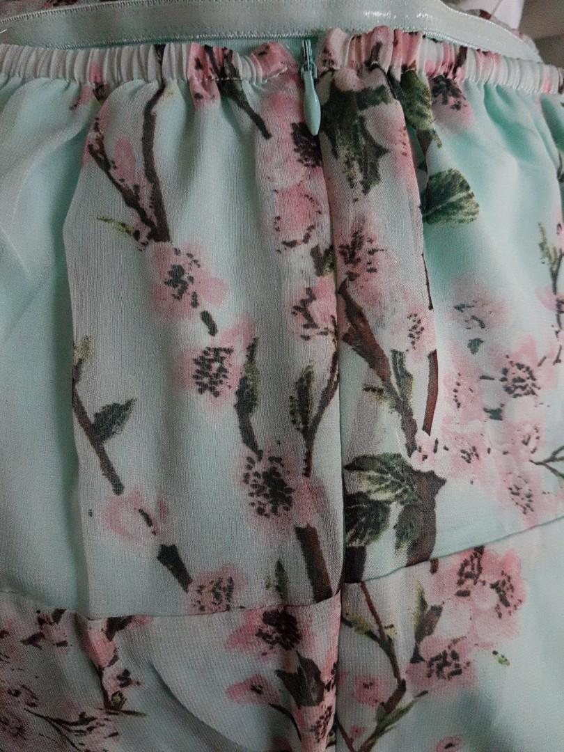 Aqua and pink blossom maxi dress