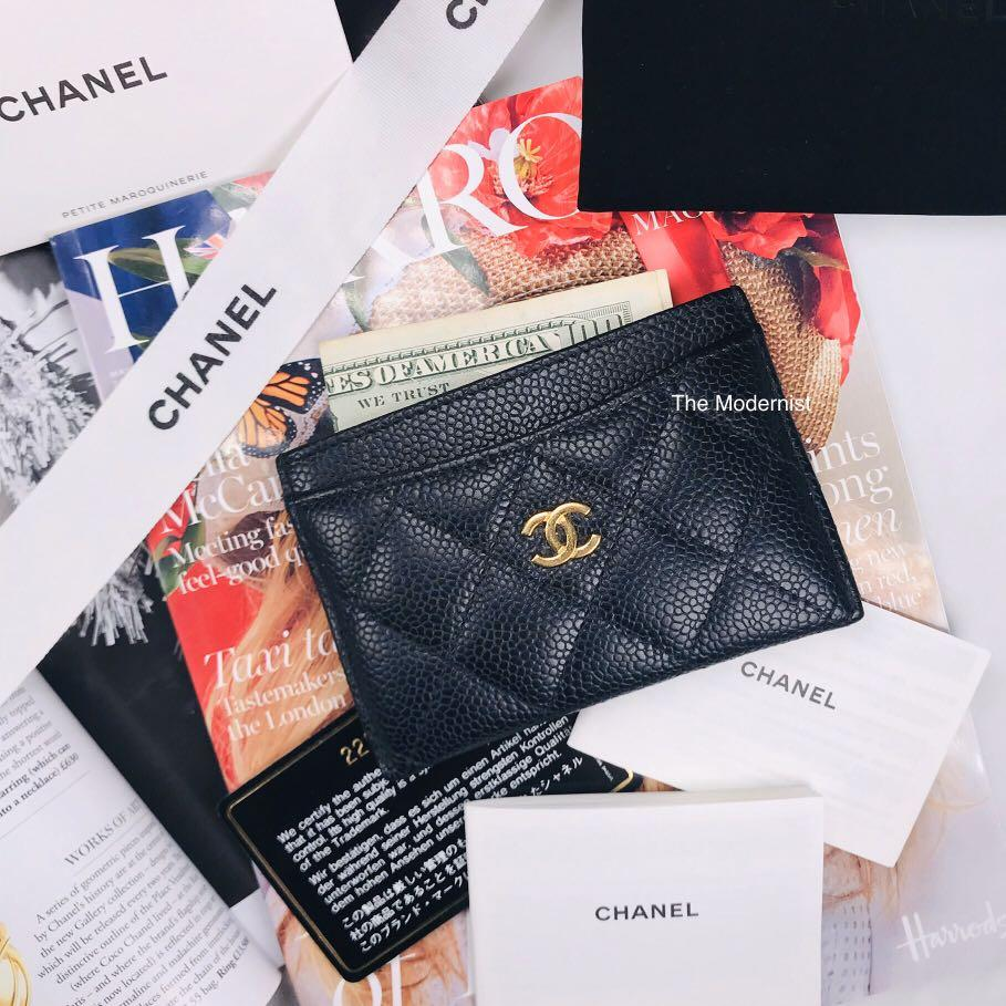 (Full Set with Receipt) Authentic Pre-loved Chanel Classic Black Caviar Leather Card Holder / Card Case GHW