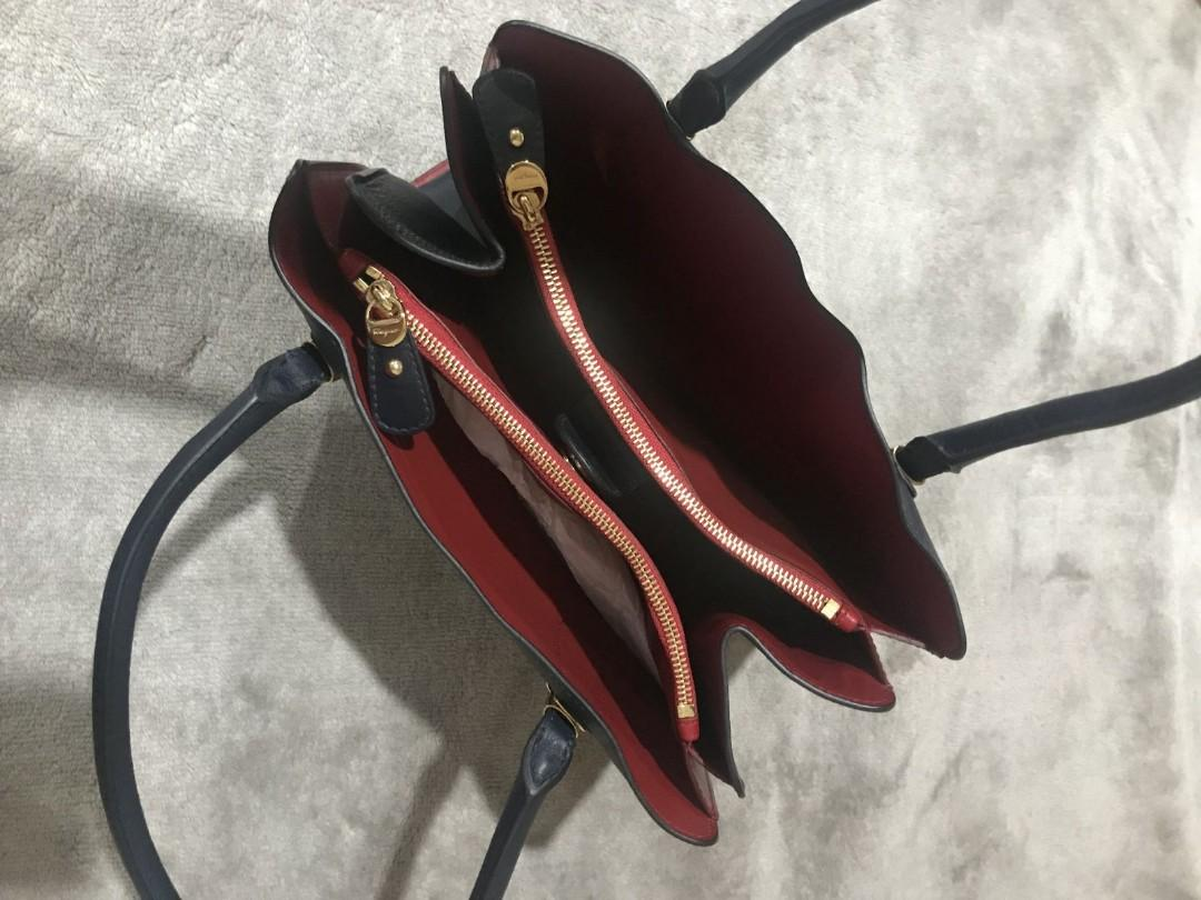 Authentic Salvatone Ferragamo in Dark Navy and Red