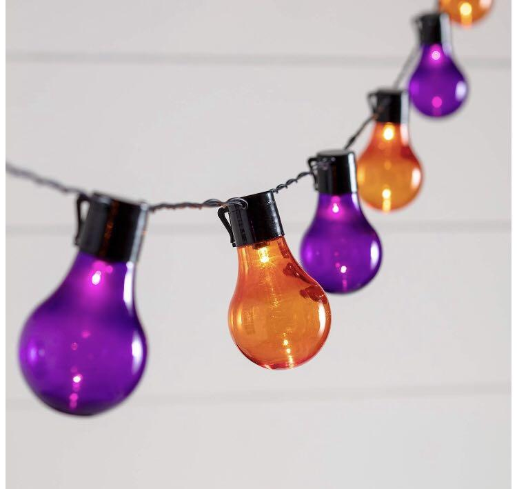 (B0039) 20 Halloween LED Festoon Lights Orange & Purple