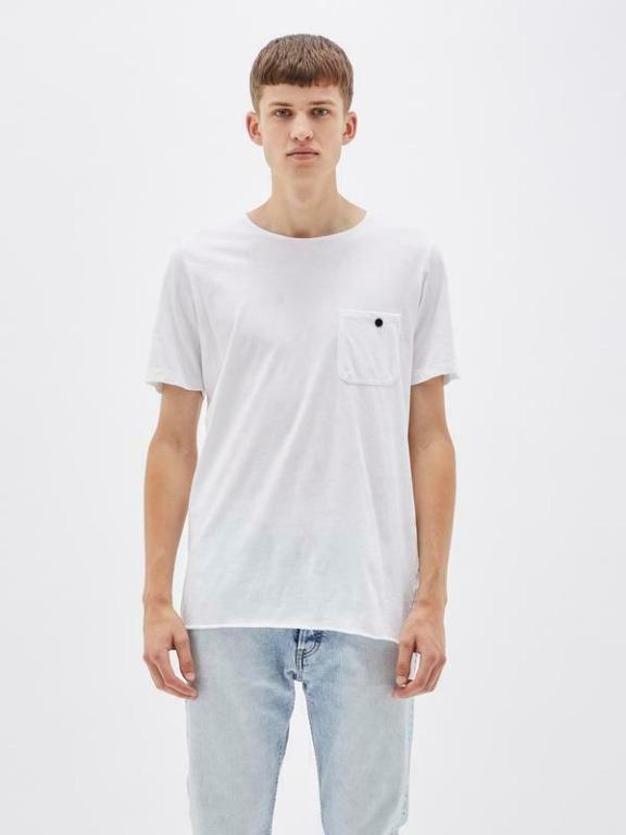BASSIKE White Original Button Pocket T-Shirt Tee | RRP $95