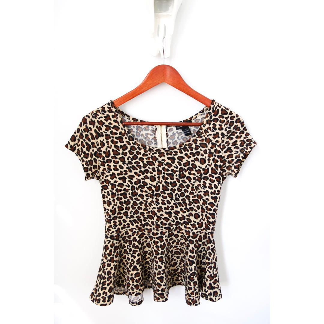 Cheetah Print Peplum Shirt