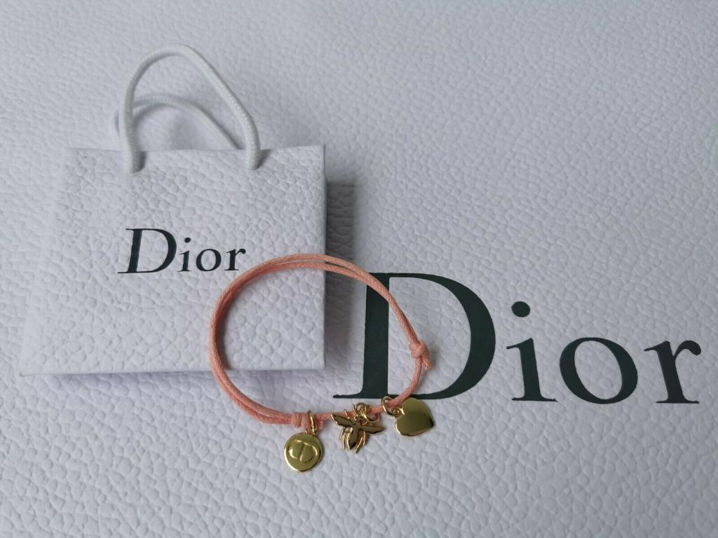 DIOR peach pink Bracelet ~Dior's three most iconic charms~ with Mini Dior Bag